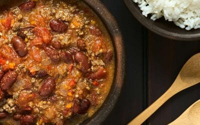 Hearty Chili Con Carne Inside A Big Green Egg